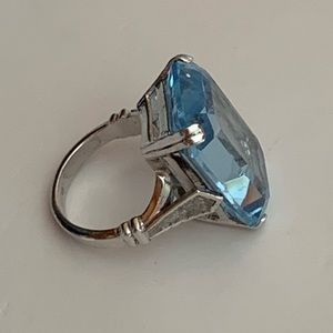 Vintage Sterling Large Blue Stone Statement Ring